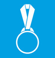 round medal with ribbon icon white vector image