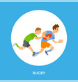 rugleague football game frame button and player vector image vector image