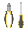 screwdriver and pliers icon flat style vector image