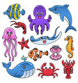 Sea creature fish dolphin whale crab clip art