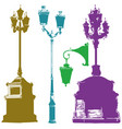 set of different olorful street lanterns vector image