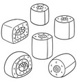 set of japanese rice roll vector image vector image