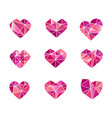 set of polygonal heart symbols icons vector image vector image