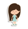 silhouette girl brown hair with dress and shadow vector image vector image
