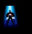 silhouette of a superhero under blue light vector image vector image
