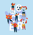 soccer fan character support typography banner vector image