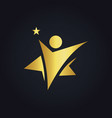 star people winner abstract gold logo vector image