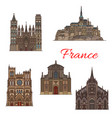 travel landmark france icon for tourism design vector image vector image