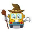 witch school bus mascot cartoon vector image vector image