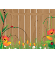 Wooden fence and flowers vector image