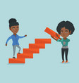 young business woman runs up the career ladder vector image vector image