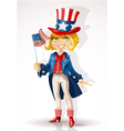 Girl in a suit of Uncle Sam and with flag USA vector image