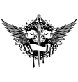 two skulls wings and sword vector image