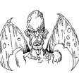 black and white evil demon with wings vector image