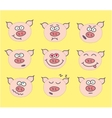 pig cute emoticon set vector image