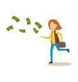sad upset woman running after money flying away vector image