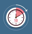 10 ten minutes time symbol clock icon vector image vector image