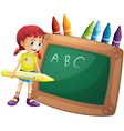 A girl holding a big crayon standing in front of a vector image vector image