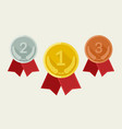 award medals from gold silver and bronze vector image vector image