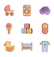 baby born icons set flat style vector image