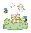 beautiful bees flying with butterfly vector image vector image