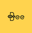 bee linear logo bee on yellow background vector image