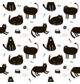 black and white seamless pattern with cute cats vector image