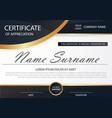 black elegance horizontal certificate with vector image