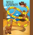 boardgame template with horse in desert vector image vector image