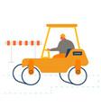 builder driving asphalt paving roller machine at vector image
