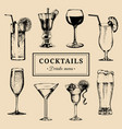 cocktails menu hand sketched alcoholic beverages vector image