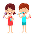 daily dental hygiene boy and girl brushing teeth vector image