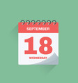 day calendar with date september 18 vector image vector image