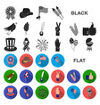day of patriot holiday flat icons in set vector image vector image