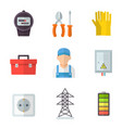electrician icon flat cartoon set vector image vector image