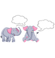 Elephants with blank speech bubbles vector image vector image
