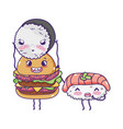 fast food cute burger with sushi with fish cartoon vector image