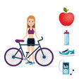 female athlete with fitness icons vector image