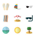flat icon season set of coconut surfing vector image