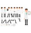 flat make doctor character creation set vector image
