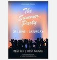 flyer to summer party with blue and orange vector image vector image