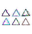 glitch triangle frame destroyed geometric shape vector image vector image