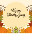 happy thanksgiving day pumpkins berries leaves vector image vector image