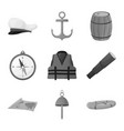 isolated object nautical and voyage symbol vector image vector image