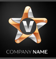 letter v logo symbol in the colorful star on black vector image vector image