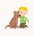 little boy child kid with a brown dog friend vector image