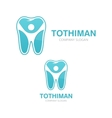 logo combination of a tooth and man vector image
