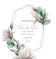 magnolia flowers with glitter abstract frame vector image vector image