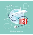 Medical Tourism Icon of Traveling and Treatment vector image vector image