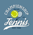 new york tennis apparel with racket and ball vector image vector image